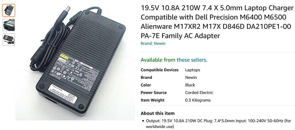 شارژر لپ تاپ دل 19.5 ولت 10.8 آمپر