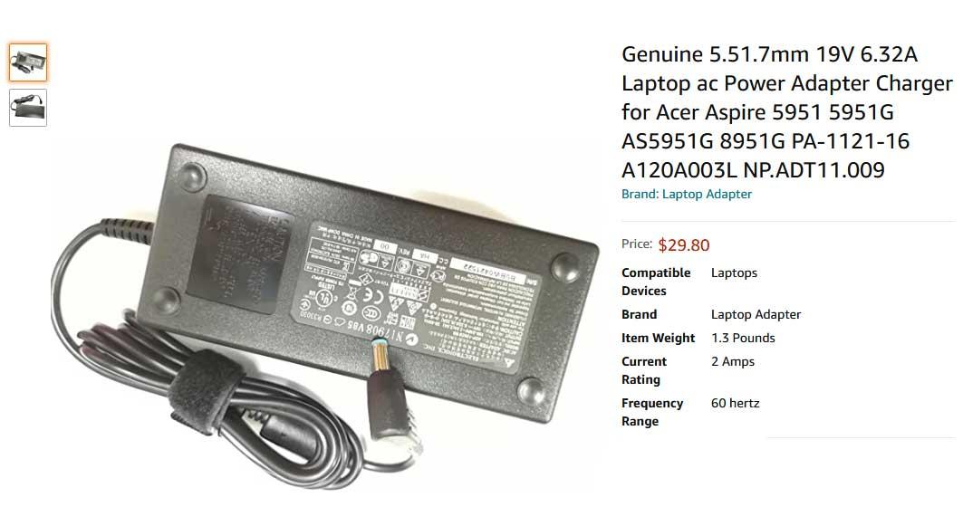 شارژر لپ تاپ ایسر 19 ولت 6.32 آمپر