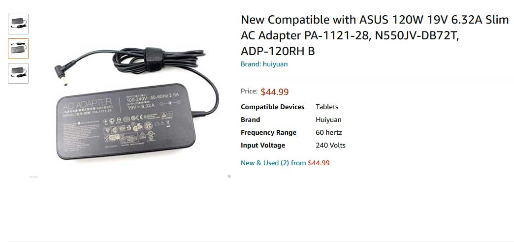 https://www.amazon.com/Compatible-Adapter-PA-1121-28-N550JV-DB72T-ADP-120RH/dp/B07SG6LMZ6
