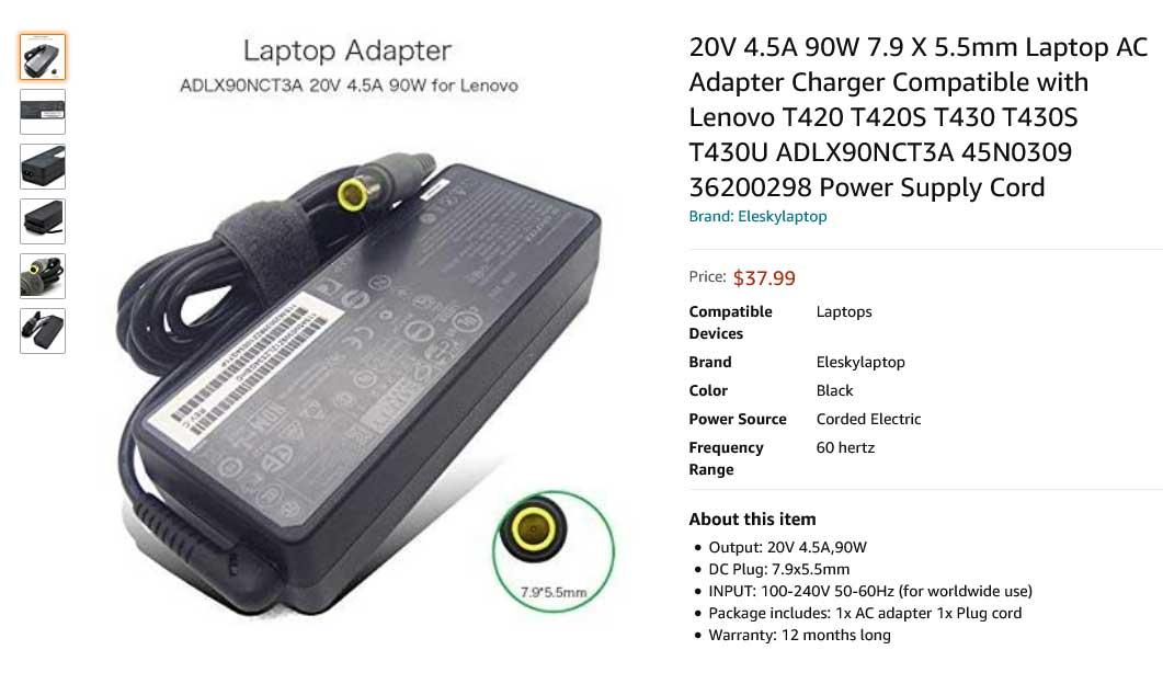 شارژر لپ تاپ لنوو 20 ولت 4.5 آمپر سر دلی