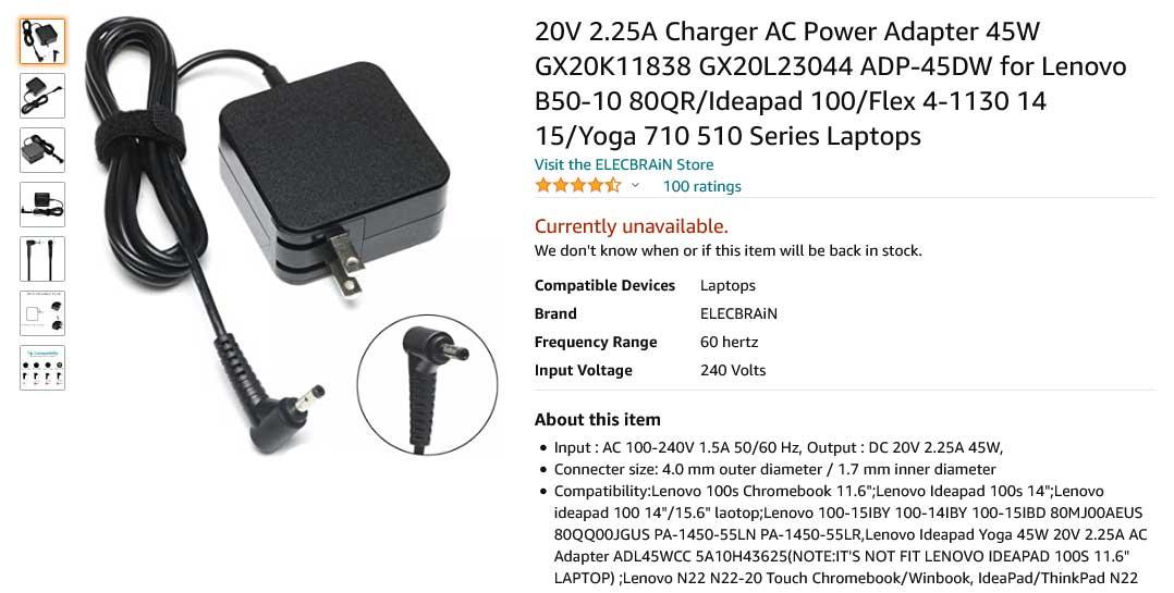 شارژر لپتاپ لنوو 20 ولت 2.25 آمپر مربعی