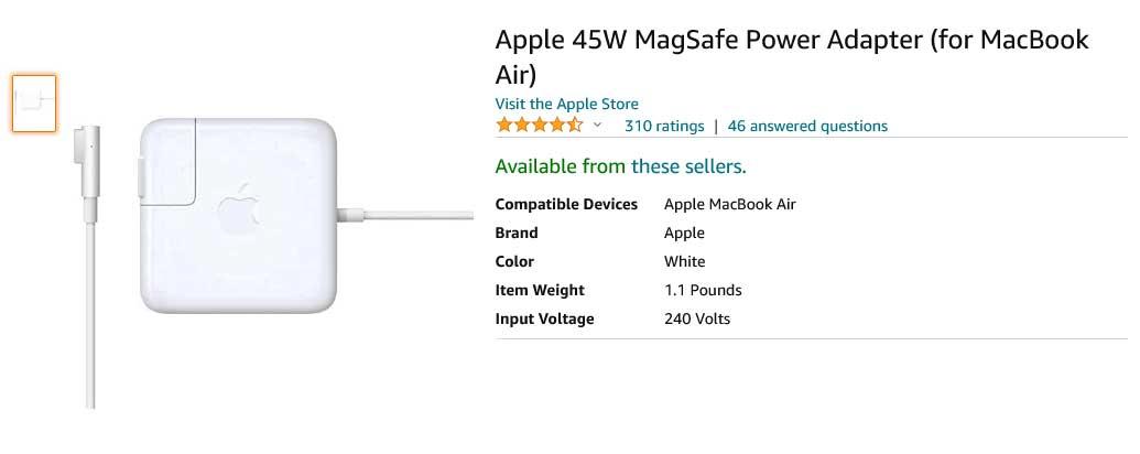 شارژر لپ تاپ اپل Adapter Apple 45W Magsafe1