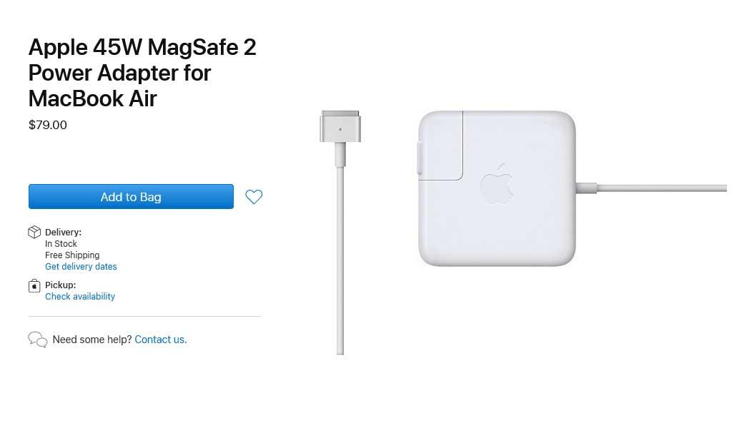 شارژر لپ تاپ اپل Adapter Apple 45W Magsafe2