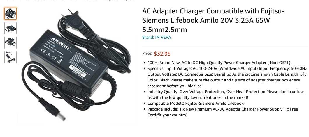 شارژر لپ تاپ فوجیتسو 20 ولت 3.25 آمپر