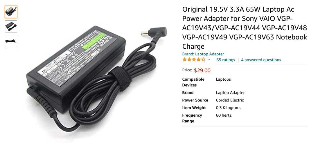 شارژر لپ تاپ سونی 19.5 ولت 3.3 آمپر