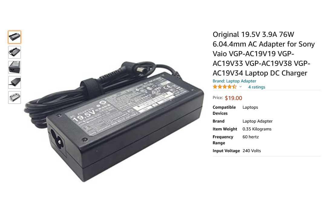 شارژر لپ تاپ سونی 19.5 ولت 3.9 آمپر