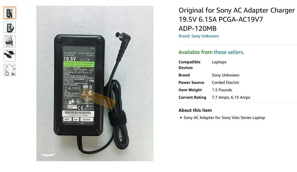 شارژر لپ تاپ سونی 19.5 ولت 6.15 آمپر