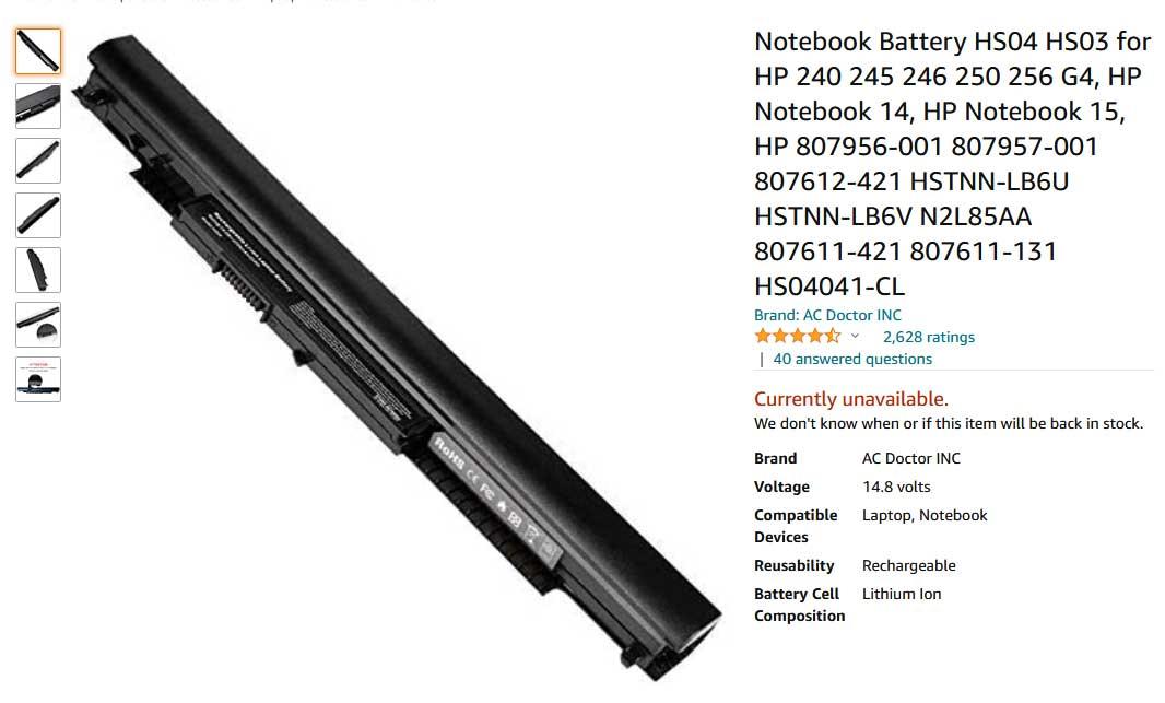 باتری لپ تاپ اچ پی ProBook 240 250 G4 G5 HS04