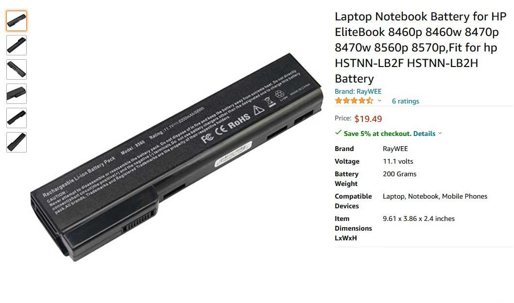باتری لپ تاپ اچ پی EliteBook 8460P 8470P 8560P 8570P CC09