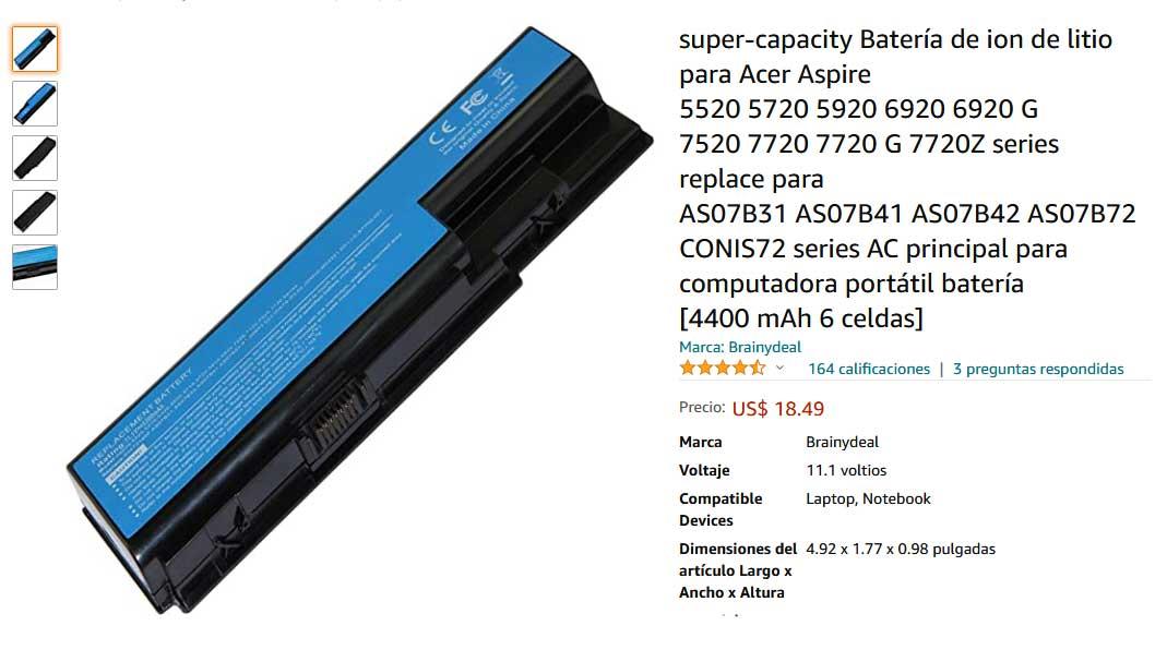 باتری لپ تاپ ایسر Aspire 5520 5720 6930 AS07B31