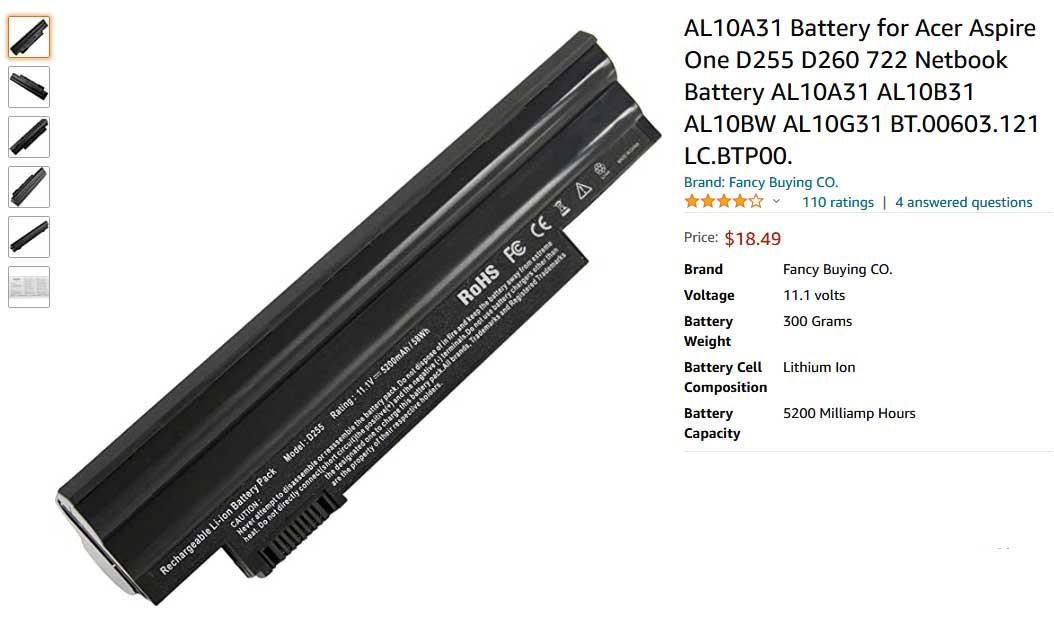 باتری لپتاپ ایسر One D260 D255 AL10A31 AL10B31