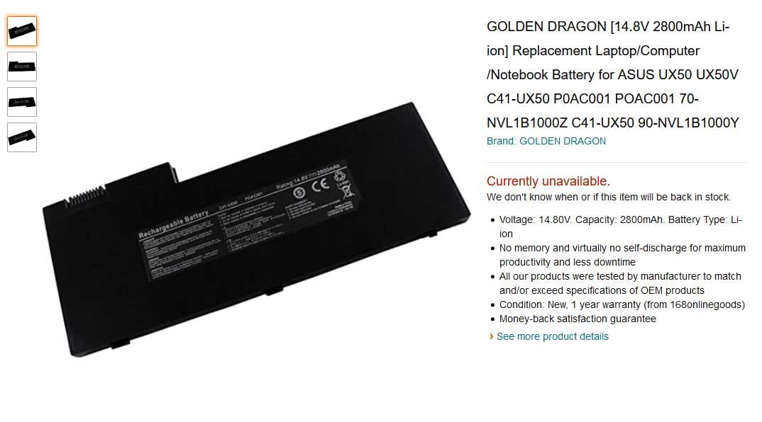 باتری لپ تاپ ایسوس UX50 POAC001 C41-UX50