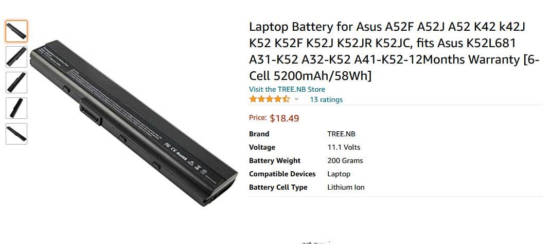 باتری لپ تاپ ایسوس K52 K42 A52 X52 A32-K52
