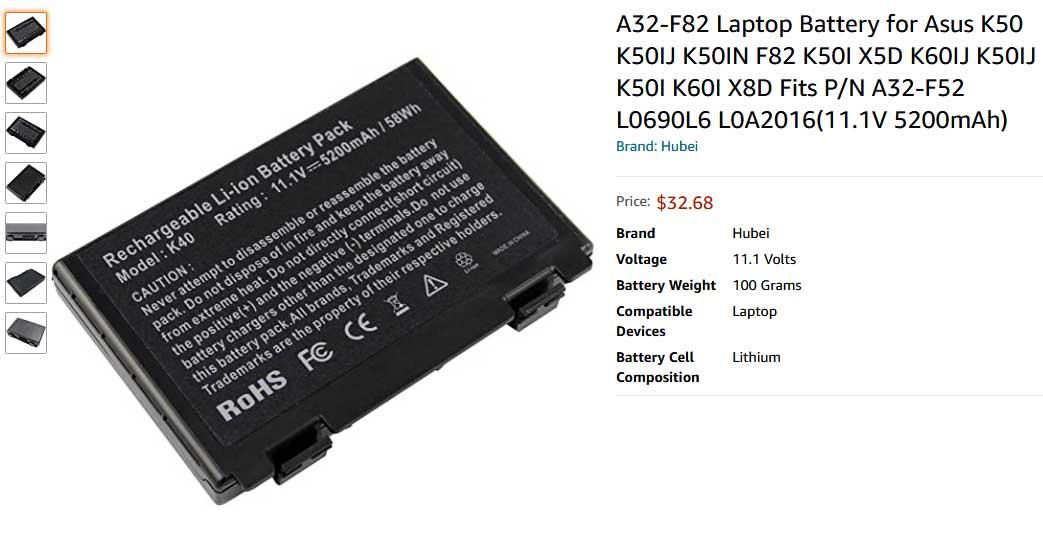 باتری لپ تاپ ایسوس F82 K40 F52 K50 K70 A32-F82