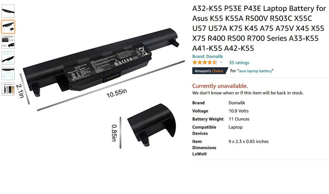 باتری لپ تاپ ایسوس Battery K55 K45 U57 A32-K55