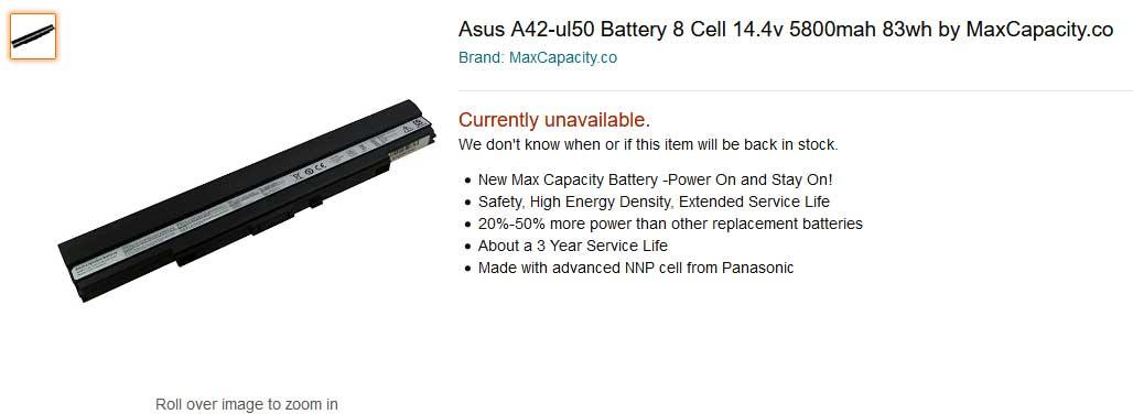 باتری لپ تاپ ایسوس UL50 UL30 UL30VT A42-UL50