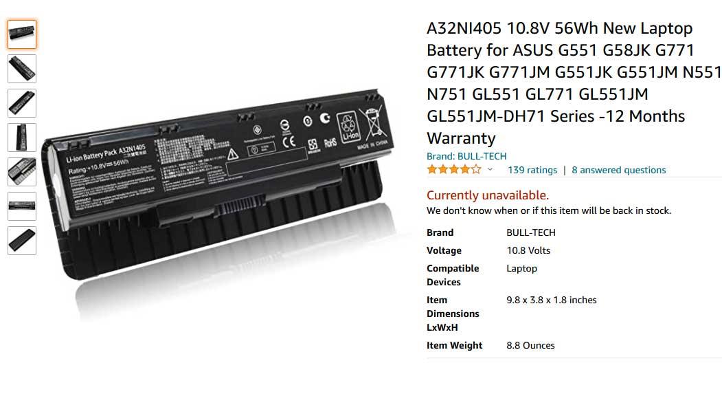 باتری لپ تاپ ایسوس N551 N751 G551 A32NI405