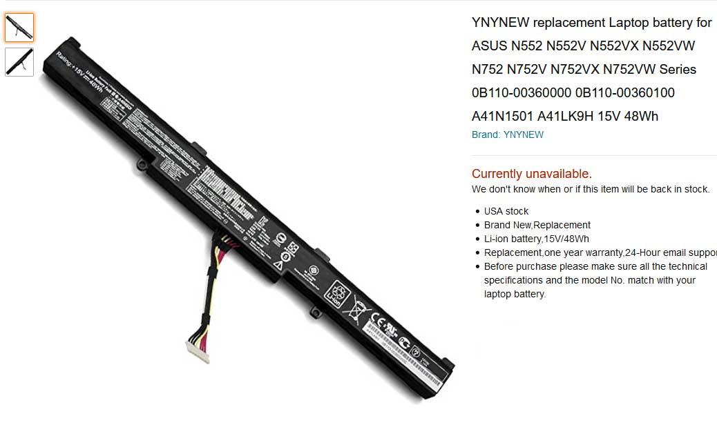 باتری لپ تاپ ایسوس N552 N552VW GL752VW A41N1501