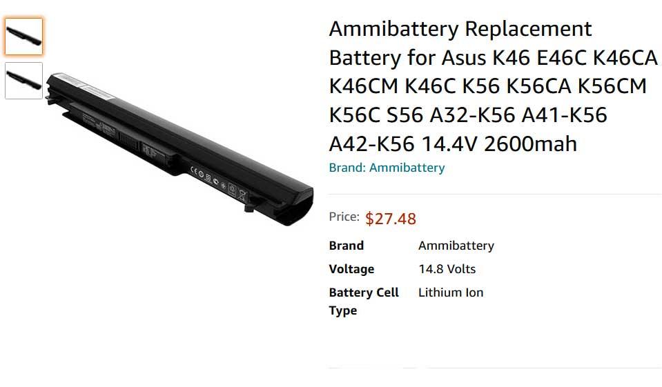 باتری لپ تاپ ایسوس Battery K56 A46 K46 A32-K56