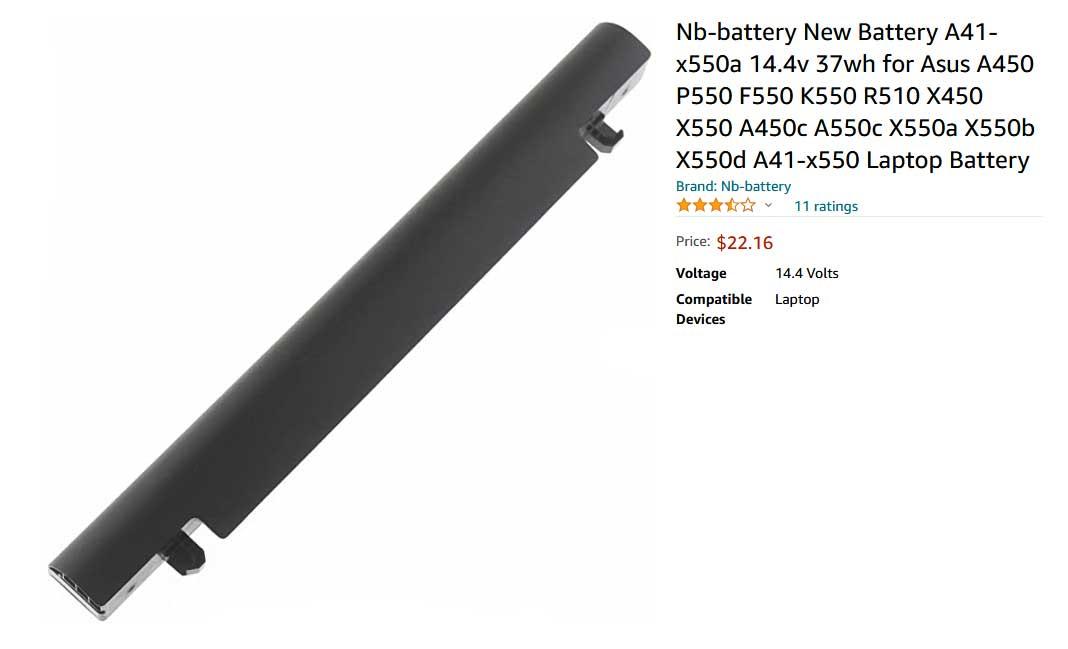 باتری لپ تاپ ایسوس K550 X550 X450 A41-X550