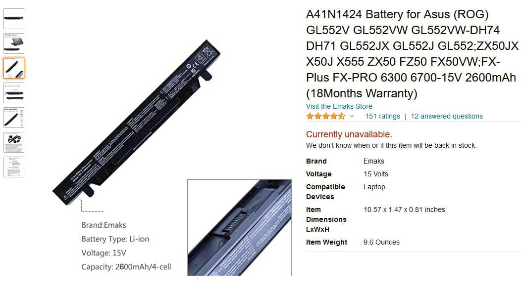 باتری لپ تاپ ایسوس GL552 GL552JX Rog FX-Plus A41N1424