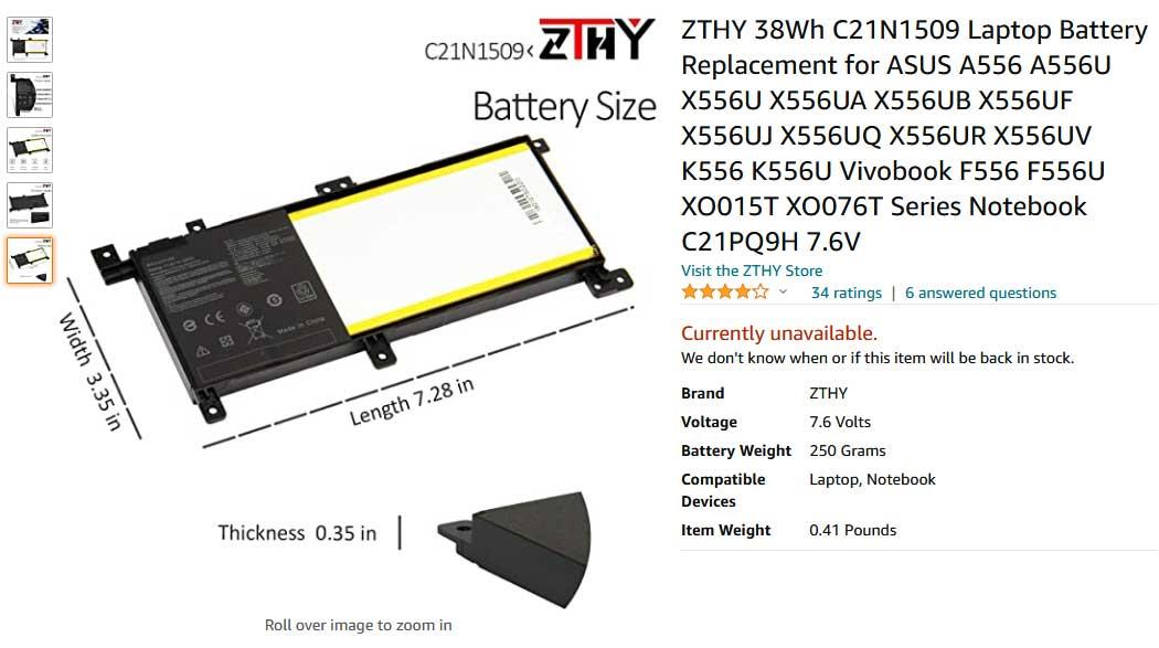 باتری لپ تاپ ایسوس X556 K556 X556UF C21N1509