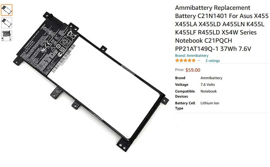باتری لپ تاپ ایسوس X455 R455 C21N1401 Internal