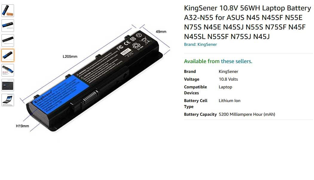 باتری لپ تاپ ایسوس N55 N45 N75 N55SF A32-N55