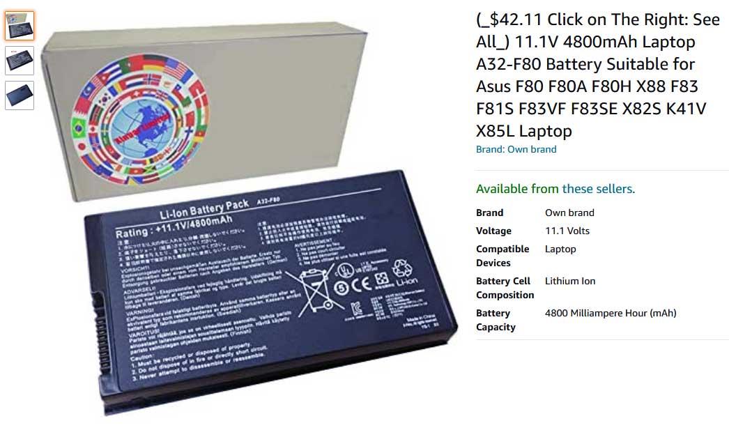 باتری لپ تاپ ایسوس F80 F80A F80H X88 A32-F80