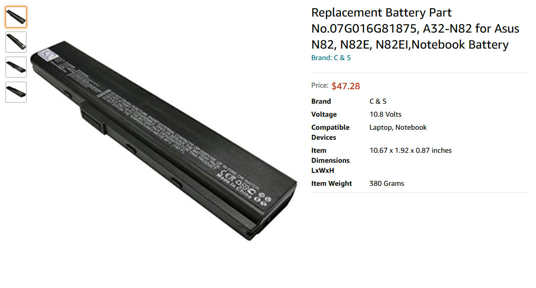 باتری لپ تاپ ایسوس N82 N82E N82EI A40Ja A42-N82