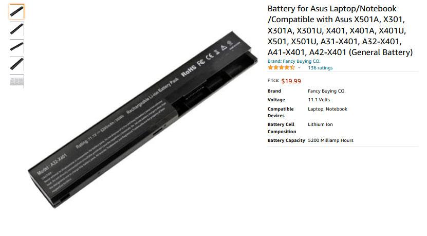 باتری لپ تاپ ایسوس X401 X301 X501 A31-X401