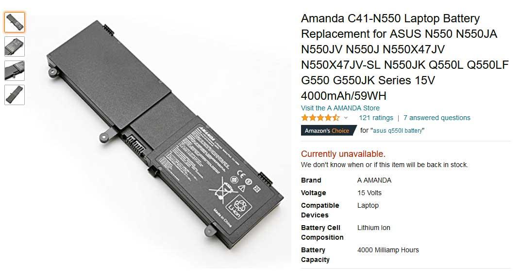 باتری لپ تاپ ایسوس N550 G550 Q550L C41-N550