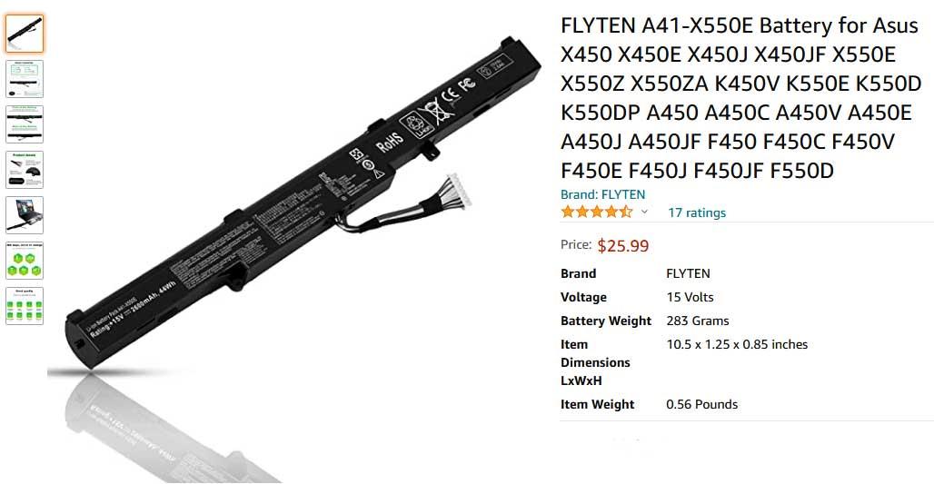 باتری لپ تاپ ایسوس X550 K550 X450 A41X550E Internal