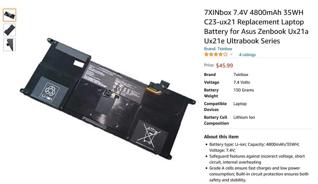 باتری لپ تاپ ایسوس Battery Asus ZenBook UX21