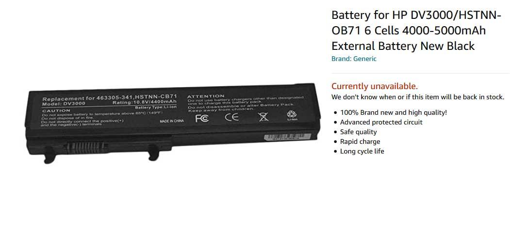باتری لپ تاپ اچ پی Pavilion DV3000 DV3113TX