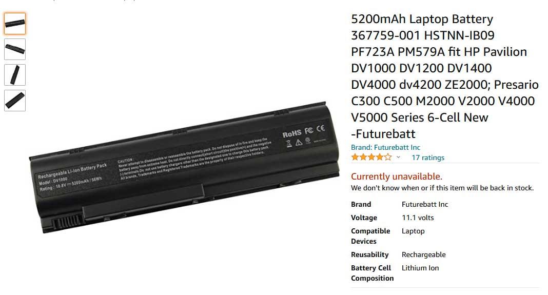 باتری لپ تاپ اچ پی Pavilion DV5000 DV4000