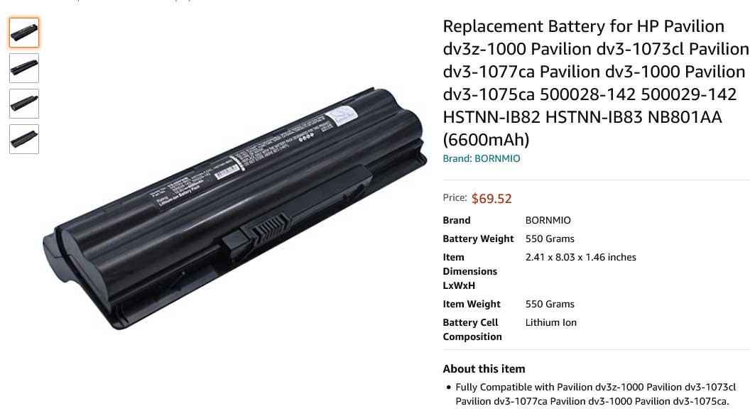 باتری لپ تاپ اچ پی Pavilion dv3-1000