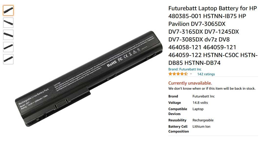 باتری لپ تاپ اچ پی Pavilion DV7 GA04 GA06 GA08