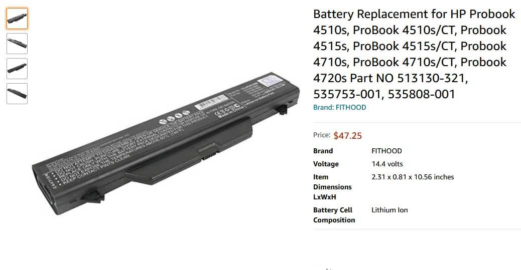باتری لپ تاپ اچ پی 4510S 4515S 4410s 4415s