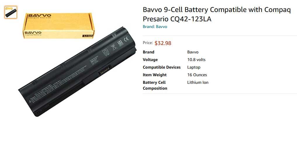 باتری لپ تاپ اچ پی CQ32 CQ42 CQ62 MU06 9cell