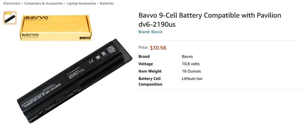 باتری لپ تاپ اچ پی Pavilion DV4 DV5 DV6 9cell