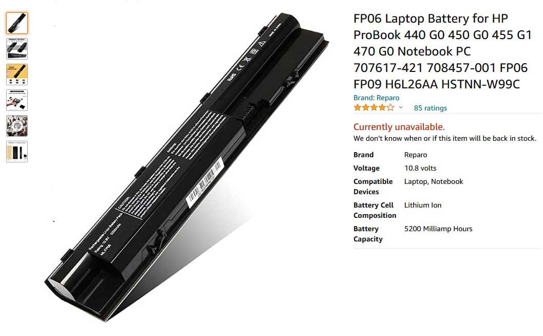 باتری لپ تاپ اچ پی FP06 440 445 450 470 G0 G1