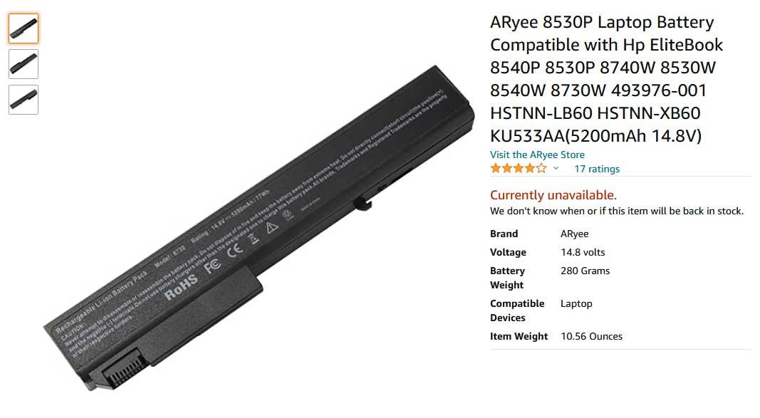 باتری لپ تاپ اچ پی 8530P 8730 8540 8530W AV08