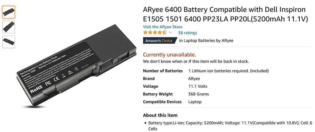 باتری لپ تاپ دل Battery Inspiron 6400 1501