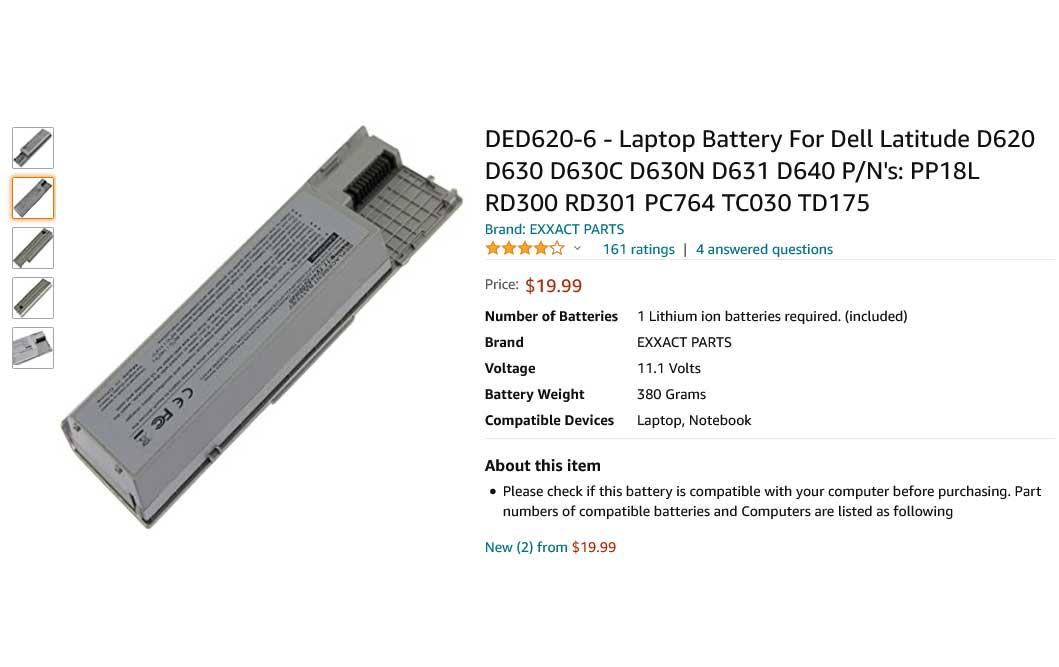 باتری لپ تاپ دل Dell Latitude D620 D630 PC764