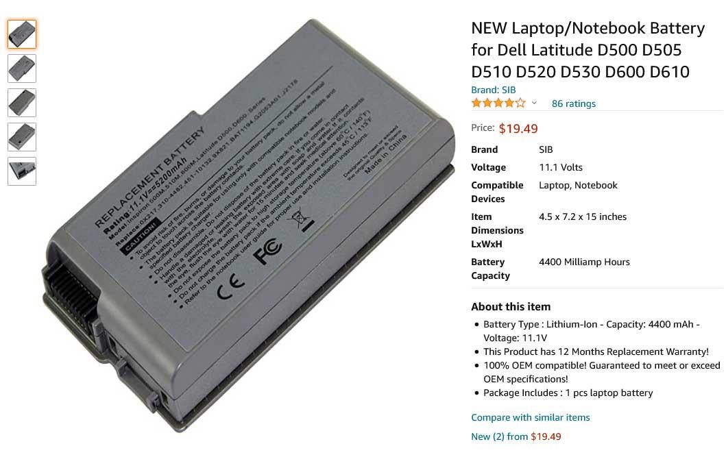 باتری لپ تاپ دل Battery Latitude D500 D600