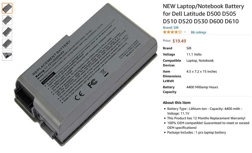 باتری لپ تاپ دل Dell Latitude D820 D830 D5319