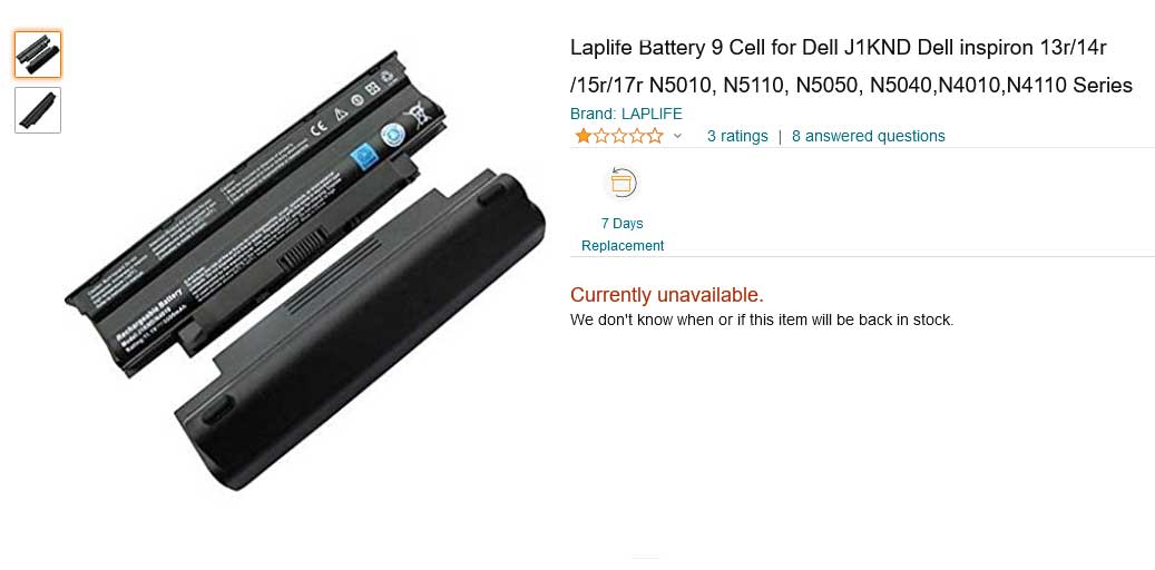 باتری لپ تاپ دل Inspiron 15R 5010 N5010 N5110 J1KND 9cell
