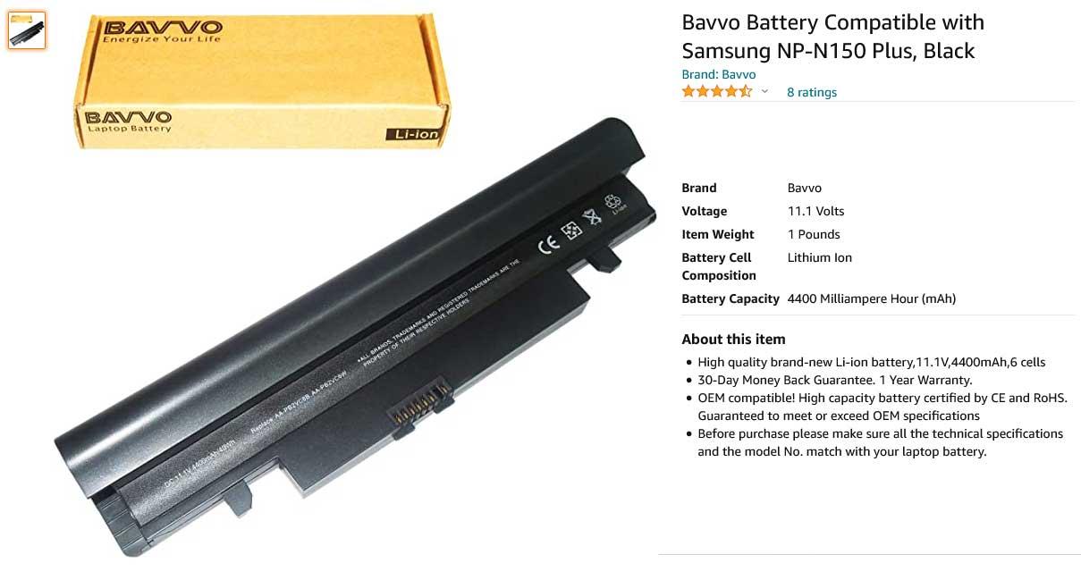 باتری لپ تاپ سامسونگ Samsung N150 N148 N250