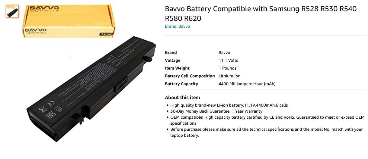 باتری لپ تاپ سامسونگ Samsung R468 R528 R580